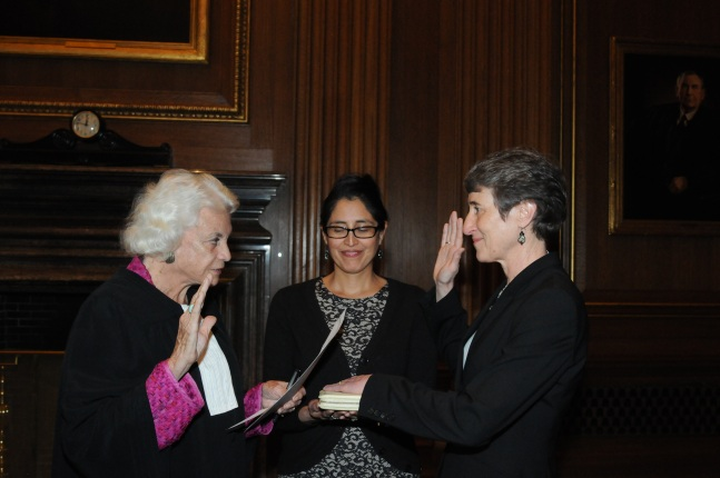 Retired Supreme Court Justice Sandra Day O'Connor, Interior Solicitor Hilary Tompkins and Interior Secretary Sally Jewell