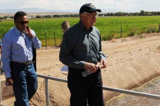 Secretary Salazar with Commissioner of Bernalillo County Art Del La Cruz touring a proposed Urban Wildlife Refuge in New Mexico