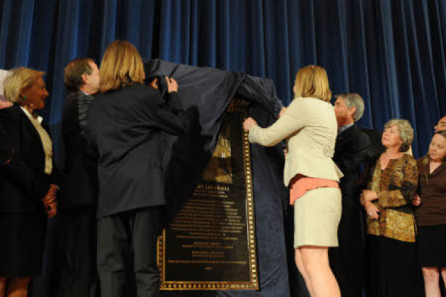 Udall family unveils the Stewart Lee Udall Interior building plaque.