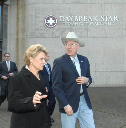 "Secretary Salazar marked the anniversary of the recovery act at the Daybreak Star Cultural Center, described by its parent organization, United Indians of All Tribes, as ""an urban base for Native Americans in the Seattle area."" He toured the center with W"