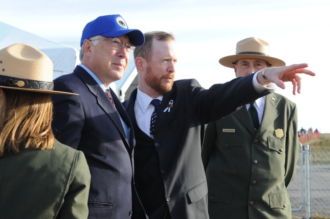 Looking at the ridge to the West where Flight 93 crashed into a field nine years ago. Left to right, Flight 93 Memorial Superintendent Joanne M. Hanley, Secretary of the Interior Ken Salazar, Gordon Felt, President, Families of Flight 93 and National Park