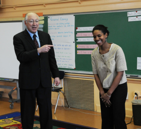 Secretary Salazar serves a guest teacher at Bruce Monroe at Parkview Elementary School.