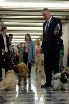 Secretary Zinke with his dog Ragnar meets other men and women with larger dogs