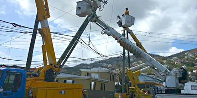 Electrician begins the immense challenge of restoring power on the USVI.