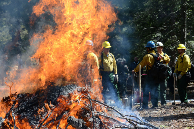 A group of men in yellow uniforms and hardhats stand near a large but contained fire