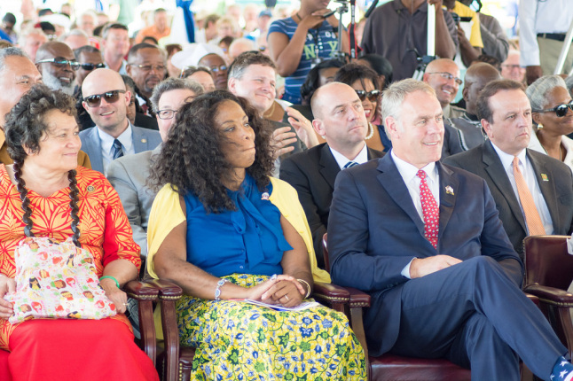 Secretary Zinke with other dignitaries at a reviewing stand