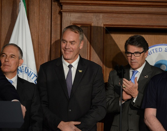 Administrator Pruitt, Secretary Zinke, Secretary Perry stand together