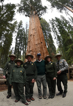 Secretary Zinke stands shoulder-to-shoulder in the middle of five National Park officers under a giant redwood tree