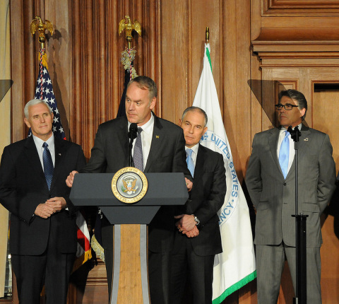 Secretary Zinke speaks standing with Vice-President Pence, Administrator Pruitt, and Secretary Perry