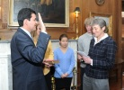 Secretary Jewell swears in Deputy Secretary Mike Connor with his family standing by