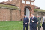 Secretary of the Interior Ken Salazar and Maryland Gov. Martin O'Malley walk through Fort McHenry.