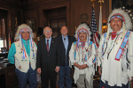 Secretary Salazar, Crow Chairman Cedric Black Eagle and Montana Governor Brian Schweitzer at the Crow Tribe-Montana Water Rights Compact Signing Ceremony