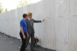 Jewell and Gordon Felt look at the Flight 93 Memorial's wall with all the names of the heroes.