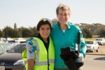 Secretary Jewell posing with a young female conservation corp member