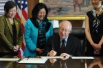 Representative Colleen Hanabusa; Irene Hirano Inouye; Interior Secretary Ken Salazar; and Assistant Secretary for Policy, Budget and Management Rhea Suh