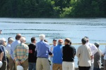 Secretary Salazar speaking with Stakeholders at the Veazie Dam in Maine.