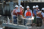 Secretary Salazar touring the Veazie Dam in Maine