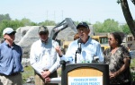 Secretary Salazar makes remarks at the Penobscot River Restoration Event.
