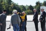 A family member of one of the passengers on Flight 93 hugs Vice President Joe Biden.