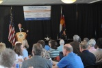 Secretary Salazar making remarks at the Center of the American West and Public Lands Foundation Symposium.