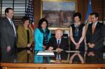 Jim Kurth (FWS), Congresswoman Hanabusa, Irene Hirano Inouye, Secretary Salazar, Rhea Suh, Jon Jarvis and Senator Brian Schatz