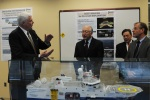 Secretary Salazar speaks with with personnel from Fugro Atlantic.