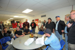 Secretary Salazar speaks with oil workers at a Target Logistic facility.