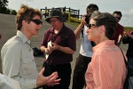 Jewell talks with FWS employee after Everglades airboat tour.