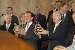 Secretary Salazar and Governors Kulongoski and Schwarzenegger received gifts from local tribes to mark the occasion.