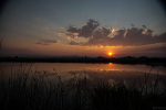 Sunrise over a kettle lake