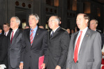 Senators Jeff Bingaman, Mark Udall, alongside Secretary of the Interior Ken Salazar and Senator Tom Udall.