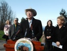 The Department of the Interior has already begun work on more than $100 million of its planned $150 million in Recovery Act projects in the Evergreen State. Also pictured to the Secretary's left, Henry Cagey, Chairman Lummi Indian Business Council an