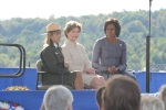 Left to right: Joanne M. Hanley, Superintendent, Flight 93 National Memorial, Mrs. Laura Bush and First Lady Michelle.