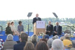 Secretary of the Interior Ken Salazar gives his remarks on the 9th Anniversary of the attacks of September 11, 2001. Left to right are Flight 93 Memorial Superintendent Joanne M. Hanley, Mrs. Laura Bush, First Lady Michelle Obama, Gordon Felt, President,