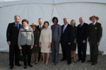The Official Party of the Flight 93 Memorial are left to right: Neil Mulholland, Mrs. Joyce Murtha, Memorial Superintendent Joanne Hanley, President of Families of Flight 93 Gordon Felt, Former First Lady Mrs. Laura Bush, First Lady Michelle Obama, Pennsy