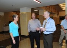Secretary Jewell greets employees as they return to work at U.S. Department of the Interior.
