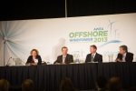 3 men and 1 women sit at a table as a panel for Offshore wind