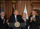 Vice-President Pence, President Trump, Administrator Pruitt, Secretary Zinke stand during presentation