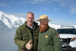 Secretary Zinke gives thumbs up next to man with red beard