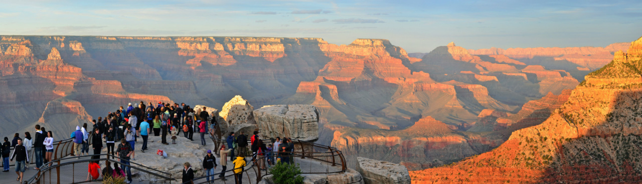 Visitors look out on the Grand Canyon at Mathers Point.
