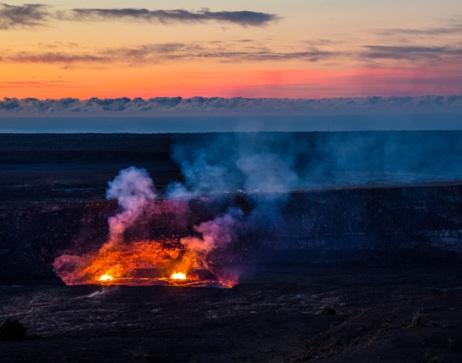 Halemaʻumaʻu within Hawaiʻi Volcanoes National Park (photo credit:  NPS/J. Wei)