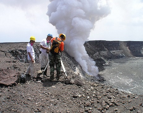 USGS employees conduct test of volcano activity.