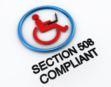 """Image of wheelchair with person on laptop. Words say """"Section 508 Compliant"""""""