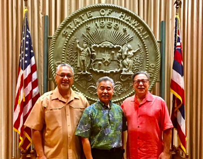 (left to right) OIA Director Nik Pula, Hawaii Governor David Ige, and Assistant Secretary for Insular Areas Doug Domenech December 14, 2017