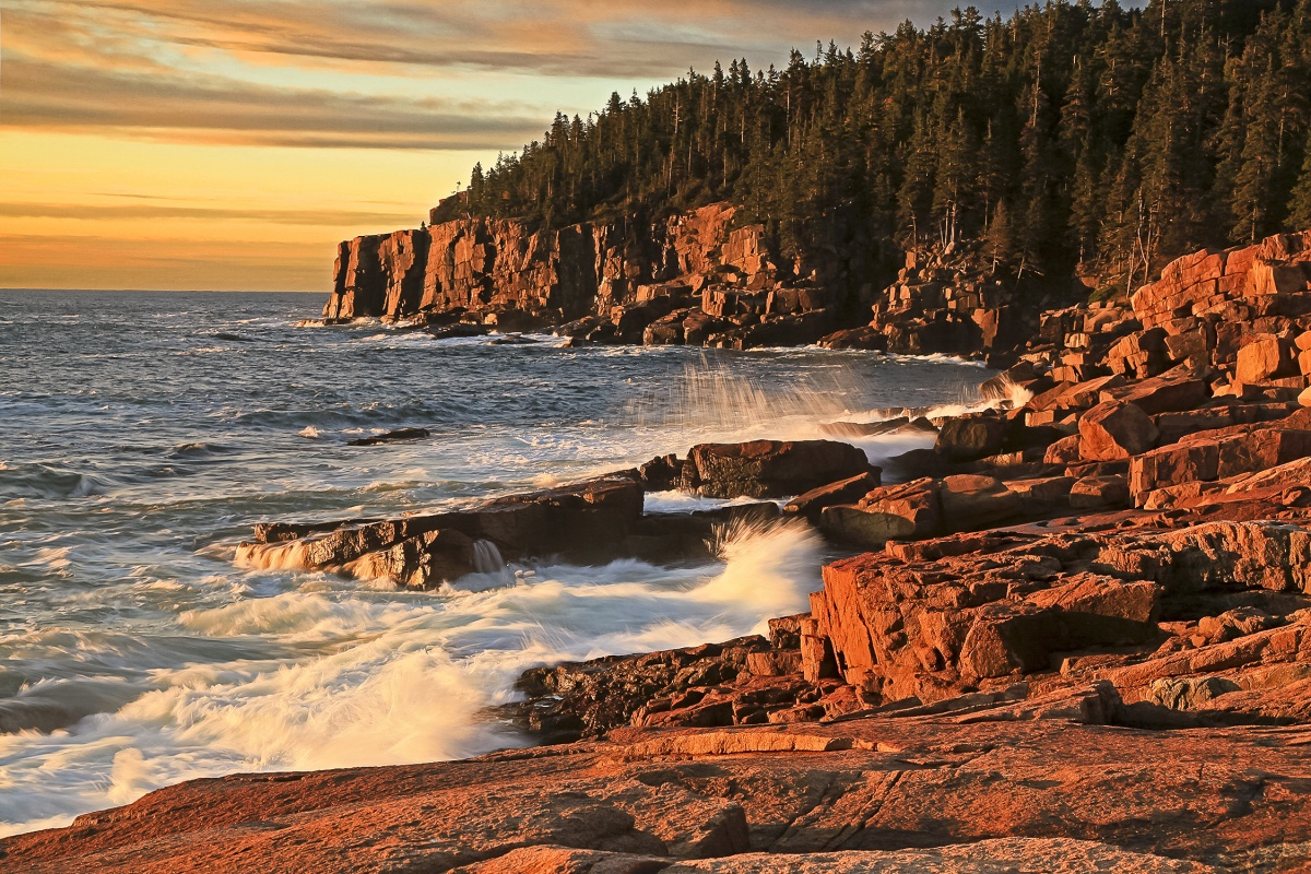Water crashes up against red stones.A yellow sunset shines on the green trees atop the stone cliff in the background.