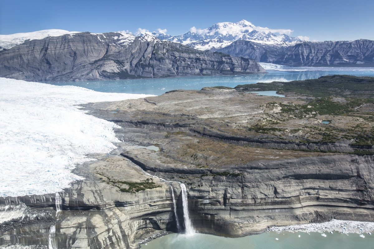 Aerial photo of glaciers and mountains at Wrangell-St. Elias National Park in Alaska