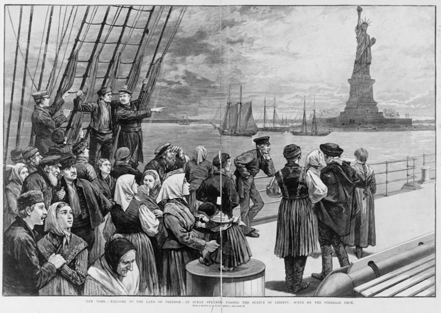 Sketch of immigrants on a boat looking at the Statue of Liberty