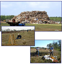 Debris pile and archeological surveysCredit: NPS and NARA