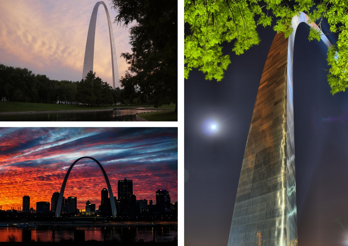 A three photo montage showing the shining metal arch of the Jefferson National Expansion Memorial and the St. Louis skyline at different times of day.