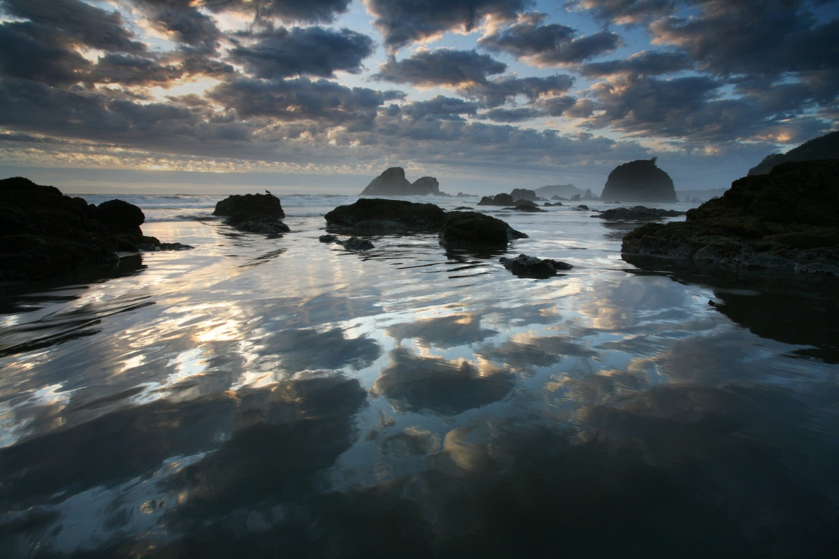 Clouds and sunset reflect in a lagoon of ocean waters with scattered rocks poking out of the water.